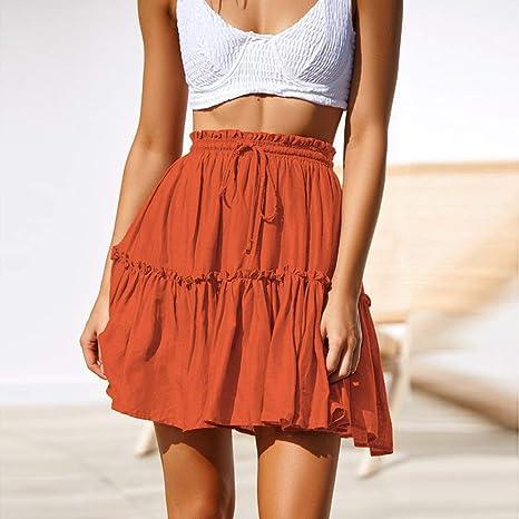 QBXDQ Falda Corta Verano Naranja Mini Faldas Moda Mujer Casual ...