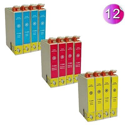 AA+inks Lot de 12 cartouches d'encre génériques comprenant 4 cartouches d'encre bleue T0712/4 cartouches d'encre magenta T0713/4 cartouches d'encre jaune T0713 Compatible avec les imprimantes Epson Stylus