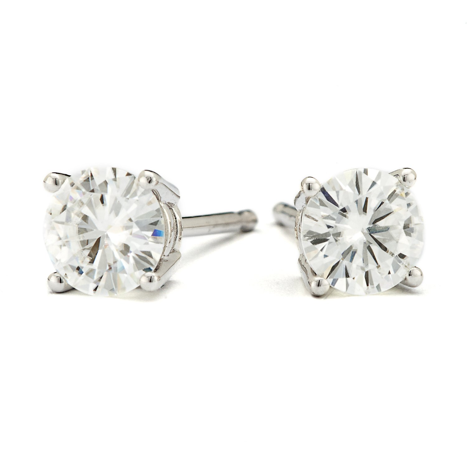4.5mm Round Brilliant Cut Moissanite Sterling Silver Stud Earrings, 0.66cttw DEW By Charles & Colvard by Charles & Colvard (Image #2)