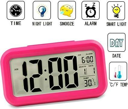Winnes Réveil numérique,Grand écran HD Réveil électronique avec Datecapteur de températureHeureSnooze pour Enfants, Adolescents JS501 Rose