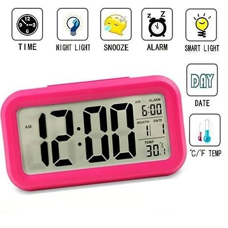Reloj despertador inteligente Luz velada, para niños, adolescentes, jóvenes LED de datos digital con luz retroalimentada, sensor de temperatura, hora ...