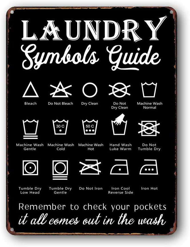 Goutoports Laundry Room Vintage Metal Sign Symbols Guide Decorative Signs Wash Room Home Decor Art Signs 7.9x11.8 Inch