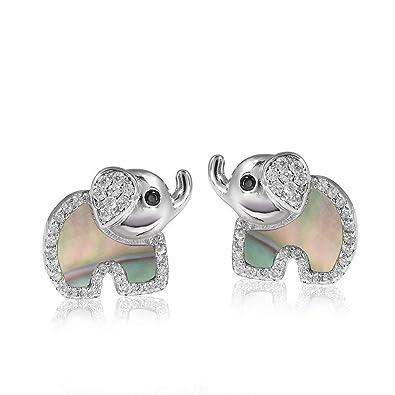 727e15d89924 MATERIA Kinder-Ohrringe Silber 925 Elefant - Perlmutt Zirkonia Ohrstecker  Mädchen Glücksbringer grün  SO