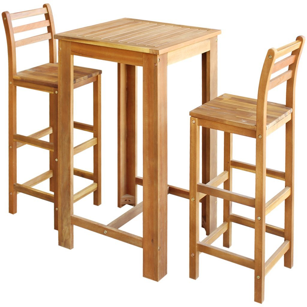 Festnight 3 Pieces Kitchen Breakfast Bar Set Solid Wood Dining Table Chairs Set Home