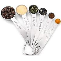 6pack 18/8 (304) Cucharas de medición de acero inoxidable, especias de medición e ingredientes líquidos para cocinar y…
