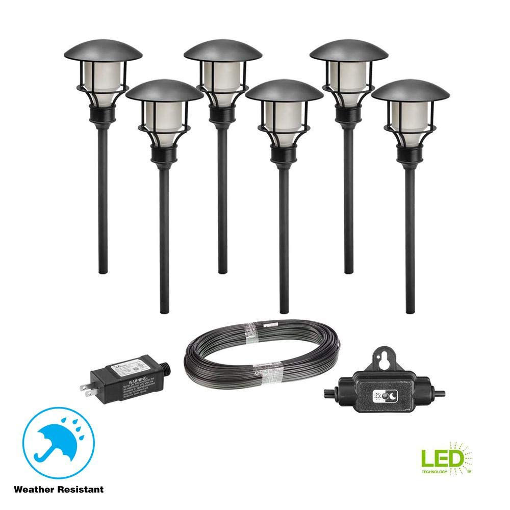 HamptonBay Low Voltage Black Waterproof Outdoor Integrated LED Landscape Path Light (6-Pack Kit)