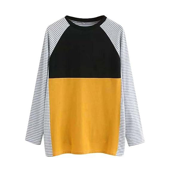 Camisas Mujer, Tefamore Suelto Blusas Mujeres Cuello Redondo Camiseta de Manga Larga Patchwork