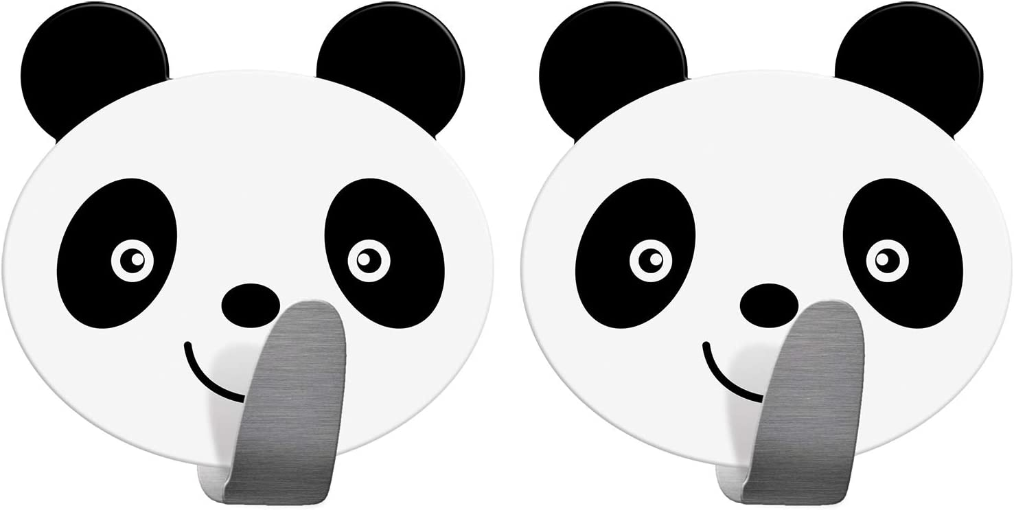 Tatkraft Panda Gancho Toallero Adhesivo Colgador Infantil para Pared Acero Inoxidable 2 Unidades