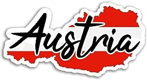 2 x 10cm Austria Map Vinyl Stickers - Flag Travel Sticker Laptop Luggage #17086 (10cm Wide)