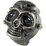 Youyoupifa Cool Design Skull Case Flip Quartz Ring Watch (Black)