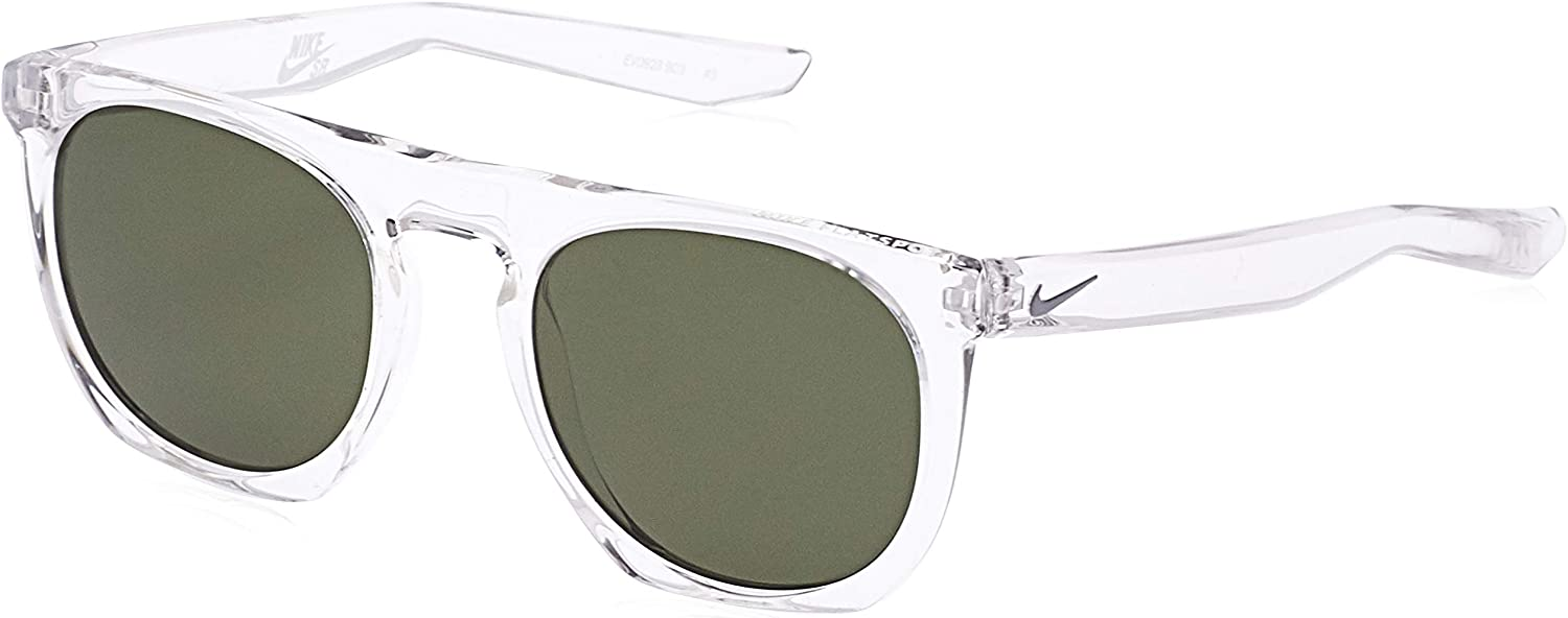 Crystal Clear//Wolf Grey Nike EV0923-903 Flatspot Sunglasses Frame Green Lens