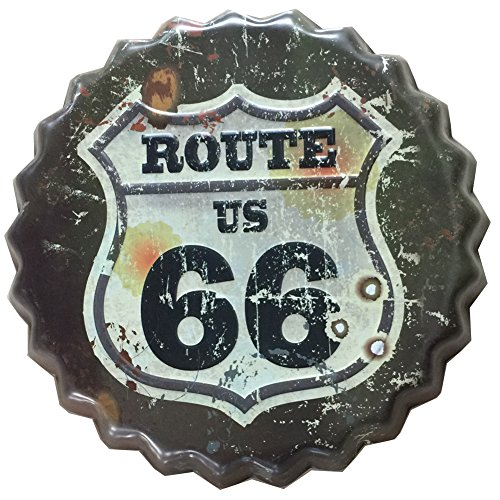 (YOSEE Route US Road 66 Metal Tin Signs Vintage Retro Wall Decor Art Dia 5 Inches (13cm) Beer Bottle Cap)