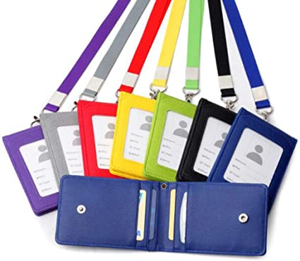 collana porta tesserino d/'identit/à porta tessere cordino da collo Grey 1 portadocumenti in pelle per carte di credito e documenti d/'identit/à utile borsetta con laccetto da collo