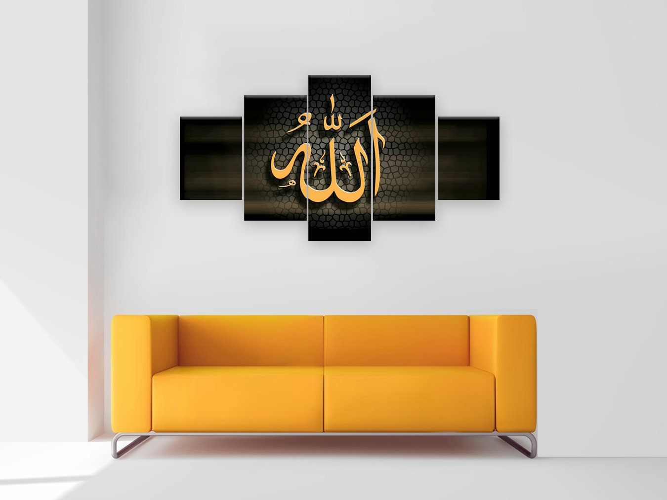 Amemny 5 pieces islam words pictures painting modern home decor canvas poster for living room wall art pictures hd painting wooden framed stretched ready to