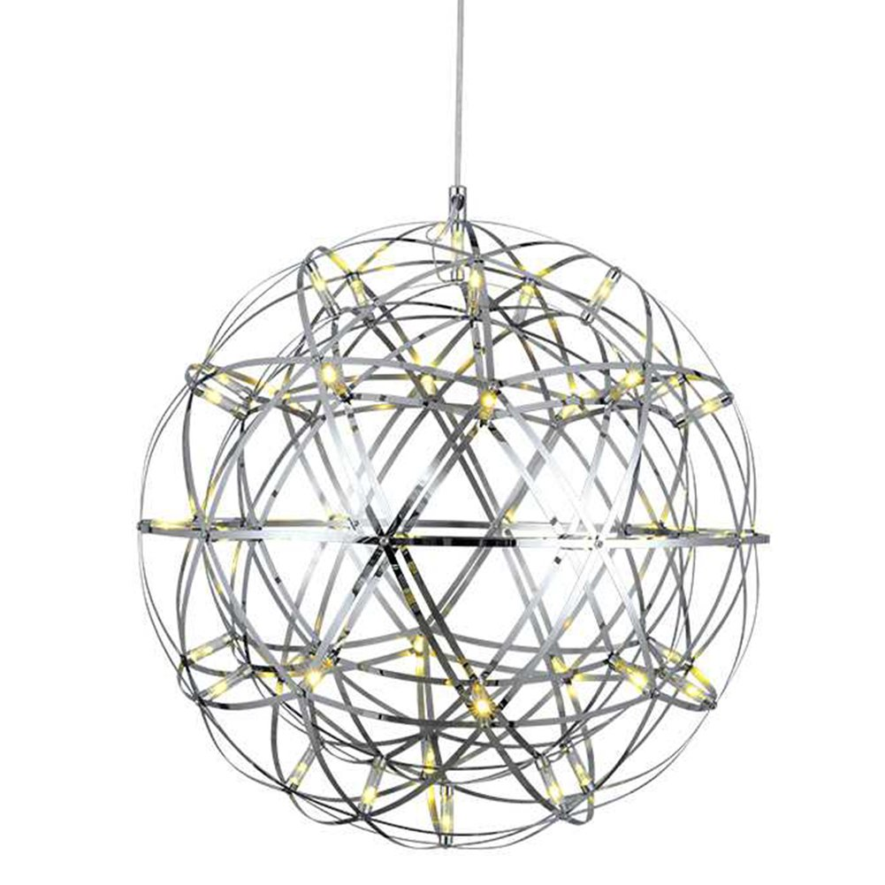 IJ INJUICY Modern Fireworks LED Metal Globe Ceiling Pendant Light Fixture Spark Ball Planet Starry Chandelier for Cafe Restaurant Staircase Mall Hotel Villa (Warm Light, Dia. 7.9 inch)