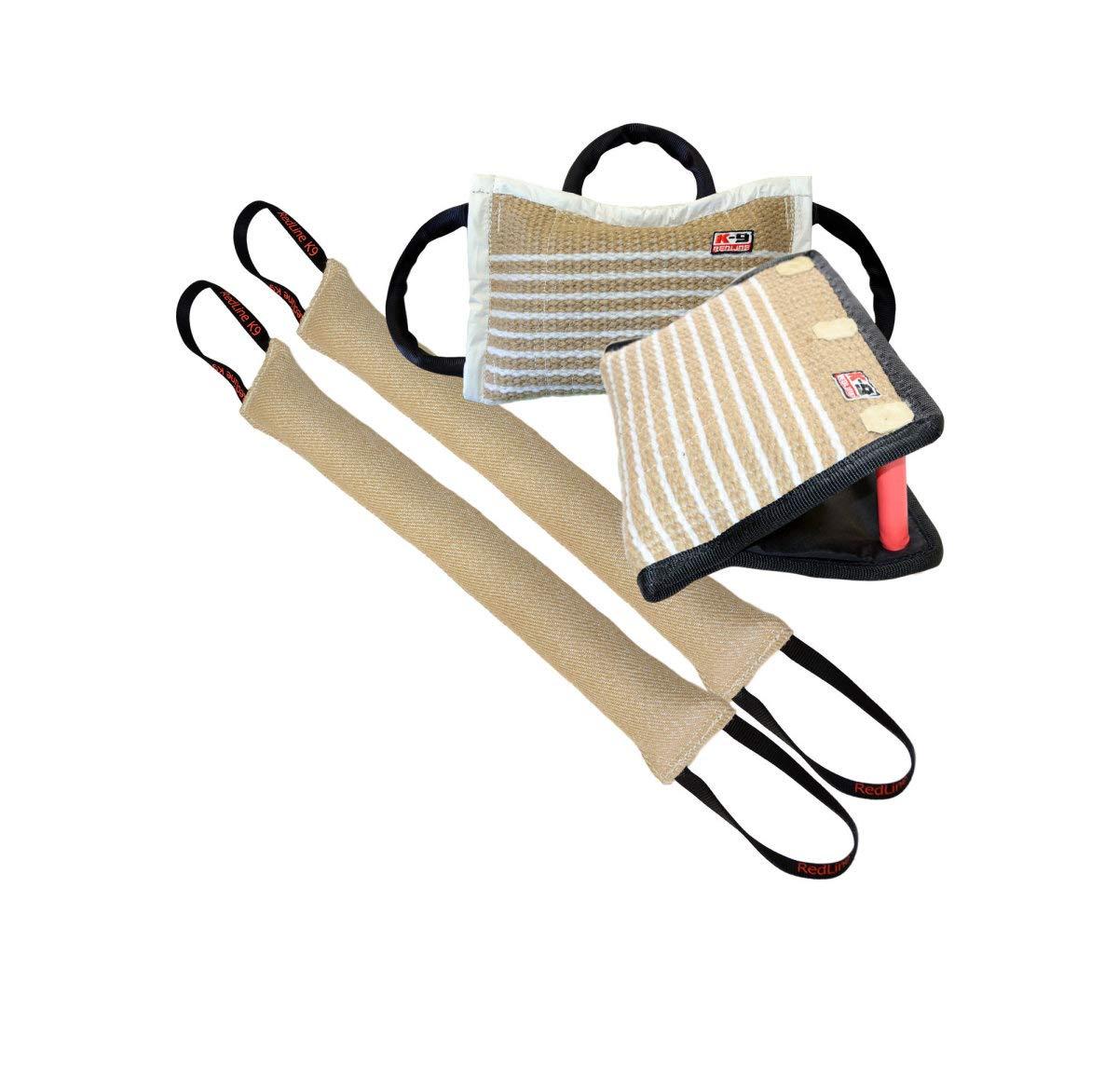 Bundle - 1-3 Handle Firm Jute Bite Pillow, 1-3 Handle Jute Bite Wedge, 2-4'' X 24'' 2 Handle Jute Tug Toy - Redline K9 by REDLINE K-9