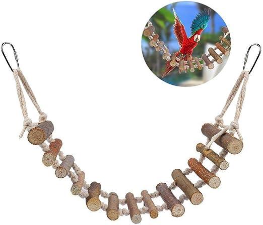 Tbest Columpio para Loros, Juguetes para Pájaros, Escalera para Pájaros De Juguete Escalera De Madera con Cuerda Escalera De Madera para Pájaros Puente Colgante para Agapornis Periquitos Loros: Amazon.es: Productos para mascotas