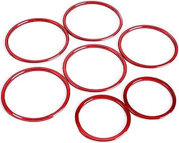 Overdrive Racing 7x Lüftungsringe Blenden Alu Rot Abdeckung Zierringe Innere Ringe Lüftungsdüse Passend Für C Klasse W205 Glc X253 Auto