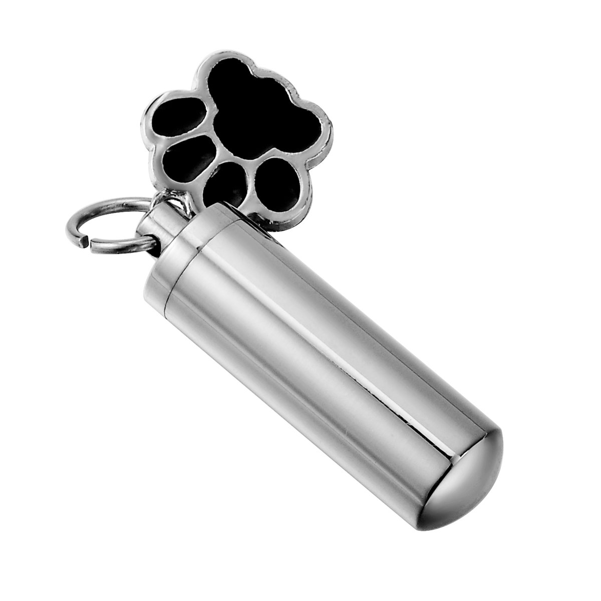 HooAMI Pet Puppy Dog Paw Cylinder Cremation Urn Necklace/Keychain Keepsake Ashes Pendant Memorial Jewelry