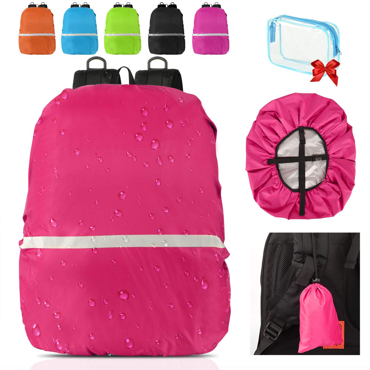 Qerhod Waterproof Backpack Rain Cover(15-70L) with Reflective Strip,Perfect for Hiking Backpack,Travel Backpack,Camping Backpack,Business Bag,etc.-Includes 2 Carry Bag