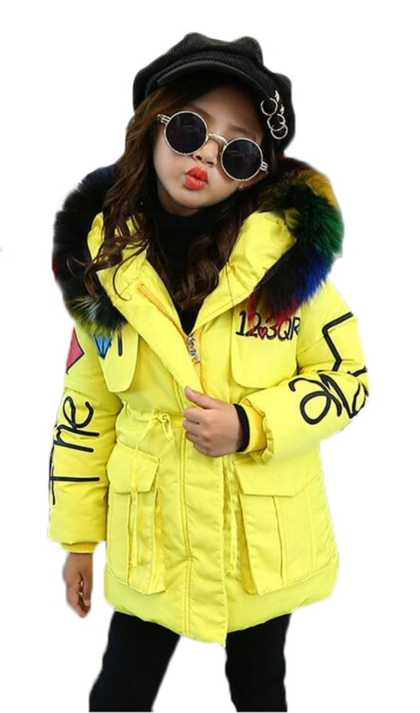 MILEEO Girls Jacket Kids Fur Warm Thick Coat Jackets Age 4-12 Years