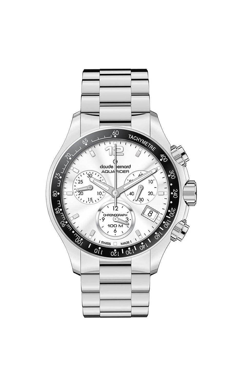 Claude Bernard Herren 10208 3 AIN Aquarider Silver Chronograph Tachymeter Steel Uhr