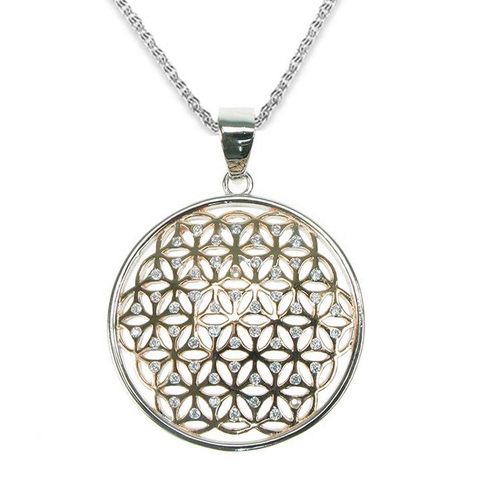 Mirabella BellaMira Silver Flower of Life Amethyst Orgone Sacred Geometry Spiritual Pendant Necklace Jewellery (Sterling Silver CZ Rose Gold (Large))