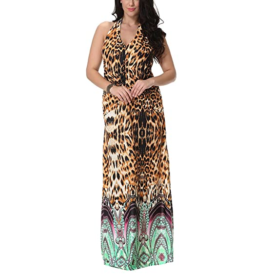 Comeon Women\'s Plus Size Dress Leopard Print Sleeveless Halter V ...