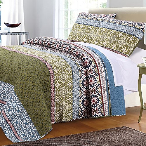 Boho Bohemian Quilt Set with Shams Geometric Pattern Mandala Blue Green 100 Cotton Luxury Reversible 3 Piece Print King Size Bedding - Includes Bed Sheet Straps