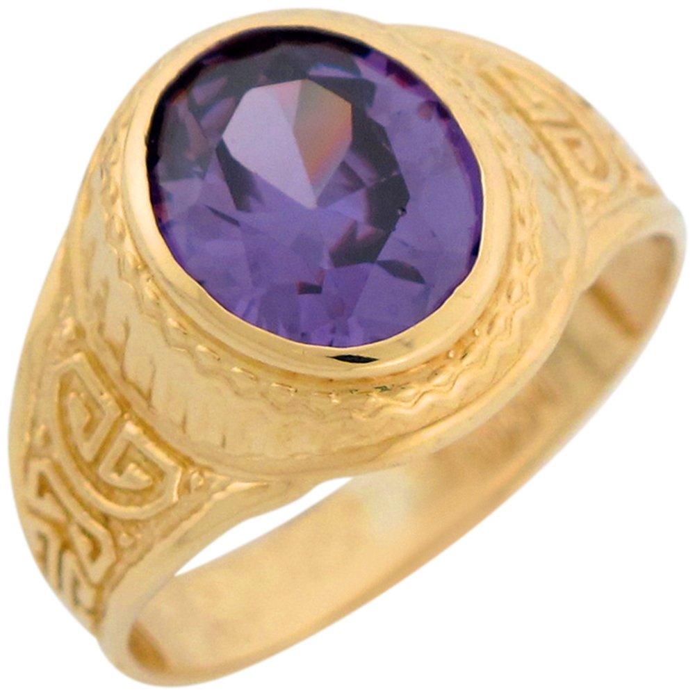 10k Yellow Gold Simulated Amethyst Greek Design February Birthstone Mens Ring