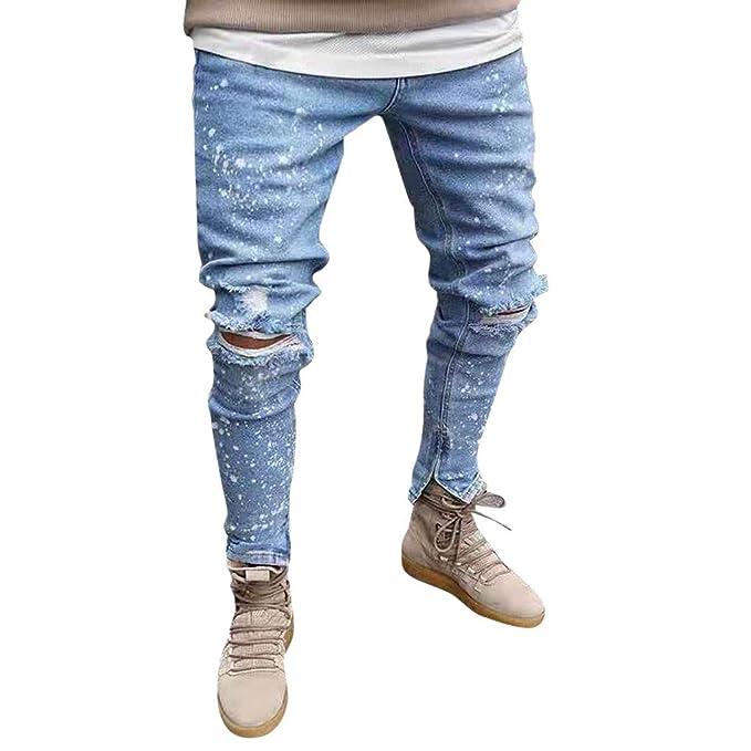 WQIANGHZI Pantaloni Jeans Uomo Skinny Uomini Elegante