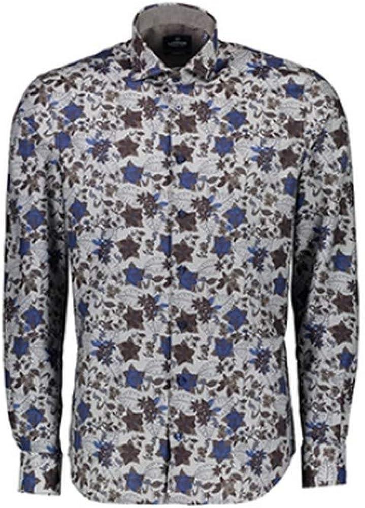 LERROS - Camisa Formal - para Hombre Marrón y Azul M: Amazon.es: Ropa y accesorios