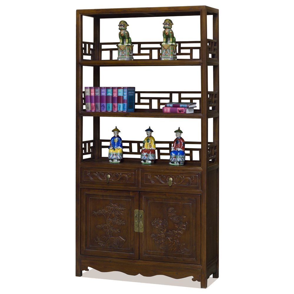China Furniture Online Elmwood Qing Dynasty Curio Cabinet, with Flower Motif in Tea Finish