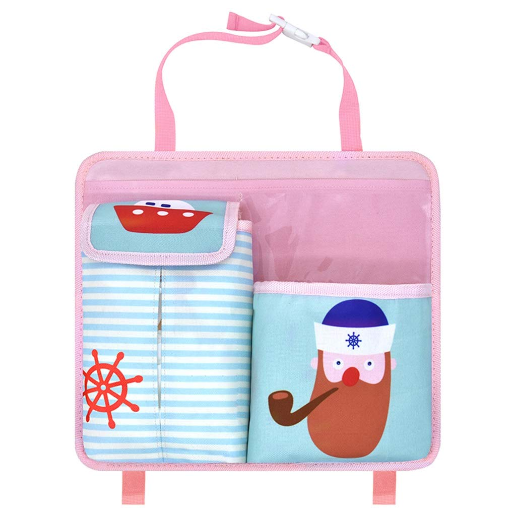 ZYLE Car Seat Back Storage Bag Storage Box Travel Accessories Cartoon Pattern Storage Bag (Color : A)