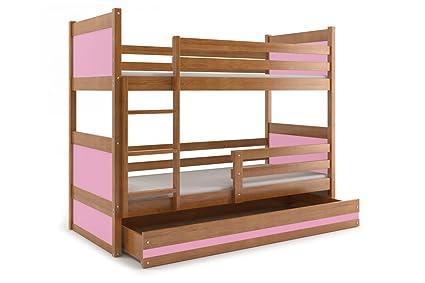 Interbeds Rico - Litera para niños, cama de madera maciza para niños + colchones gratis
