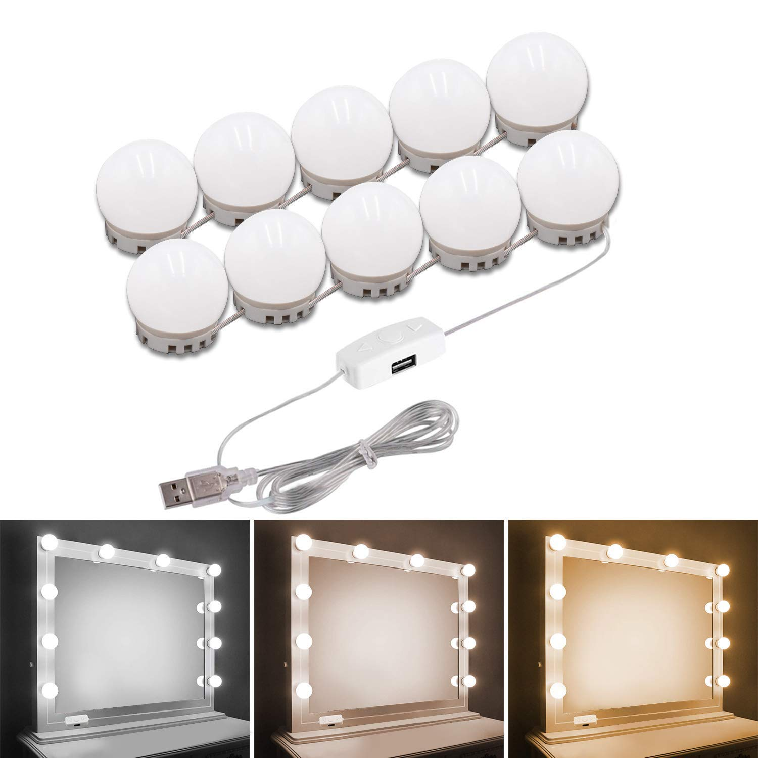 Pretmess Hollywood Style Vanity Mirror Lights Kit, Adjustable Color and Brightness with 10 LED Light Bulbs, Lighting Fixture Strip for Makeup Vanity Table Set in Dressing Room (Mirror Not Include) by Pretmess