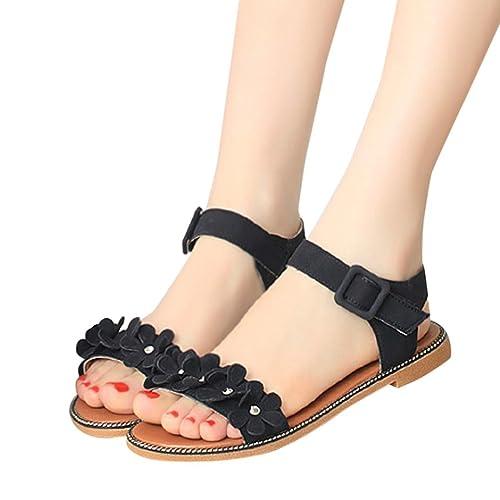 397190097 Fheaven Women Summer Flat Sandals Bohemia Sweet Flower Simple Flat Beach  Sandals (US 5