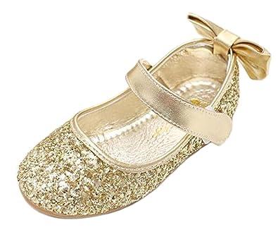 10e9da8de7e DADAWEN Wedding Flower Girl s Dress Shoe Glitter Bowknot Ballerina Pumps  Ballet Flats Gold 13 Child UK