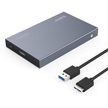 ORICO Caja USB 3.0 de Aluminio para Disco Duro HDD o SSD SATA de 2,5 Pulgadas - Gris