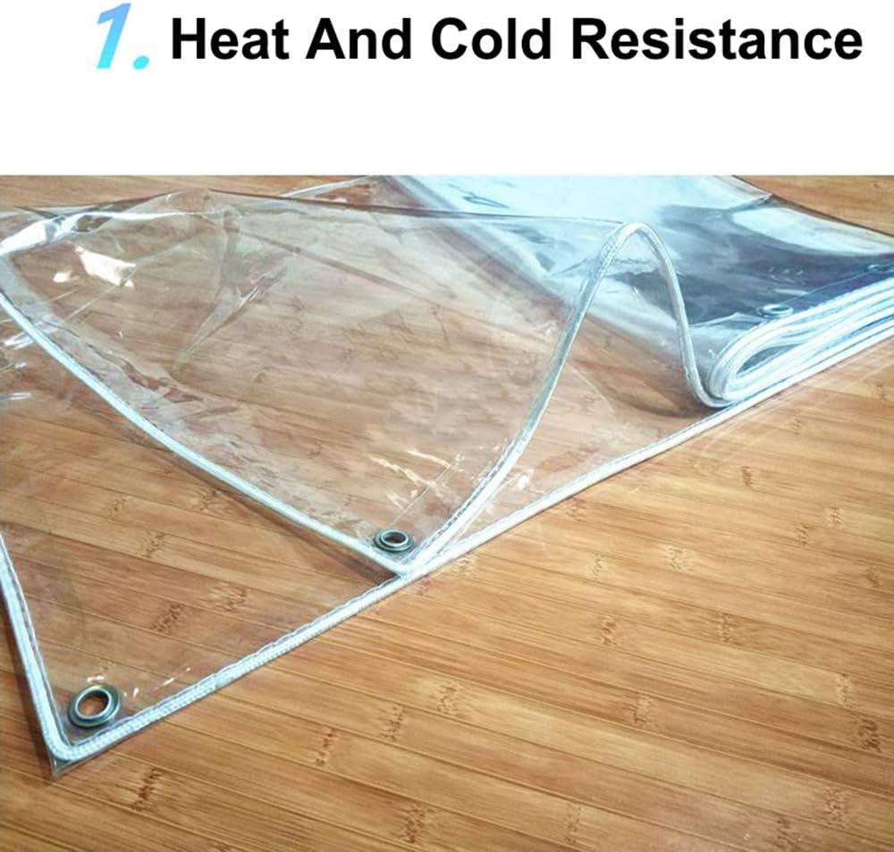 XQHD transparant plastic dekzeil, zeil met ogen luifels, waterdicht helder dekzeil vel voor kamperen vissen tuinieren, 420G/m2, 19,6 mils/0,5 mm 1 x 2 m.