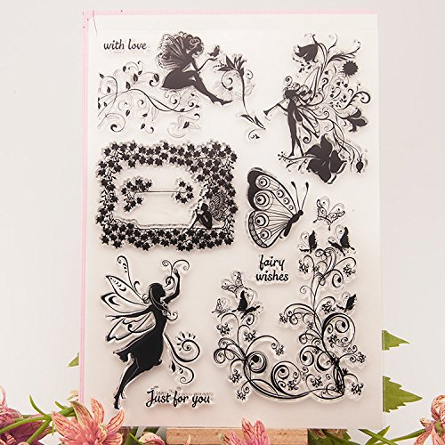 DadaCrafts(TM) 6 by 8-Inch Fairy DIY Clear Stamps For Card Making Scrapbooking and 1 Sheet Seal Stickers DzdzCrafts