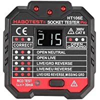 HABOTEST HT106B Socket Testers Voltage Test Socket detector AU Plug Ground Zero Line Plug Polarity Phase Check
