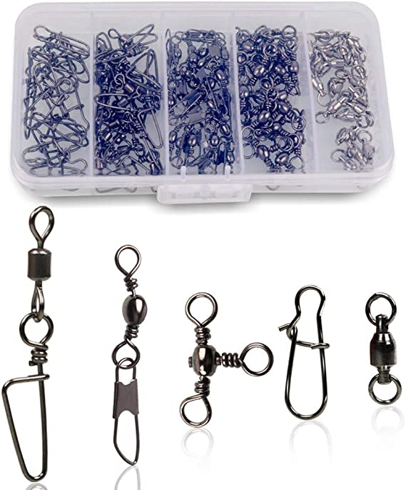 200pcs Stainless Rolling Swivel Nice Snap Lure Connector Fishing Swivels Snap CC