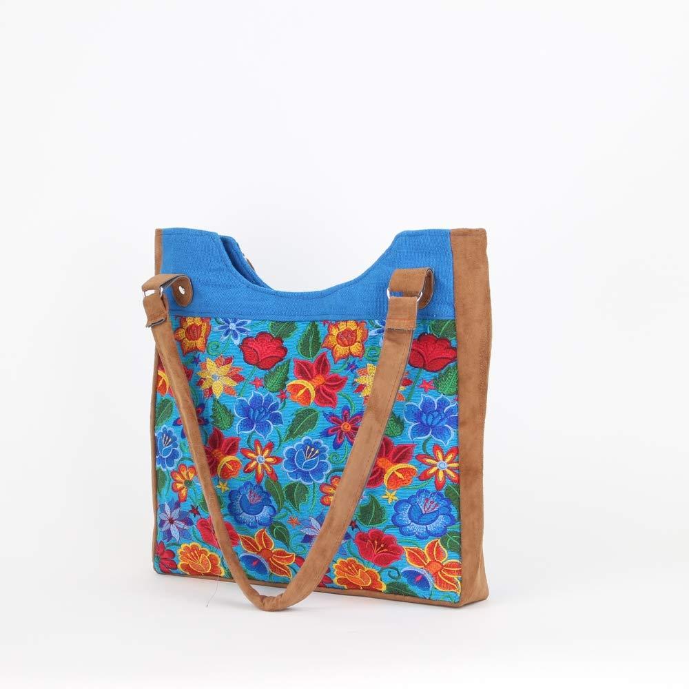 bde7585801 Amazon.com  Boho Tote Bag - Boho Bags - Boho Purses and Bags - Mexican  Suede Bags - Mexican Embroidery - Blue  Handmade