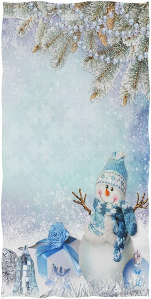 ZzWwR Chic Christmas Greeting Snowman Decorations Pine Branches Soft Highly Absorbent Guest Large Home Decorative Hand Towels Multipurpose for Bathroom Gym and Spa Hotel 16 x 30 Inches