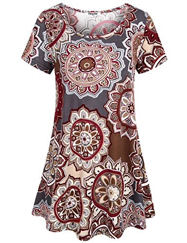 Hibelle Long Tunic Short Sleeve, Womens Summer Tops Crewneck Flower Floral Printed Slim Fitted Tunic Shirt Drape Flowy Tshirts Designer Aesthetic Clothing XLarge Multi Red