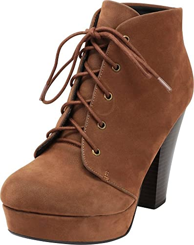 fa1bf98dcf1 Cambridge Select Women s Platform Lace-Up Chunky Stacked Heel Ankle Bootie