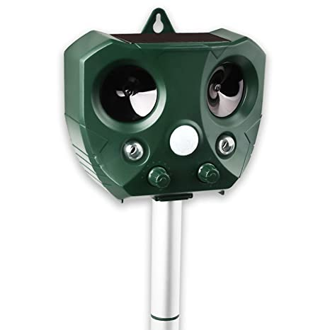 JINZER Ultrasonic Animal Repeller,Solar Powered Waterproof Outdoor Animal Repeller with Infrared Motion Detector,