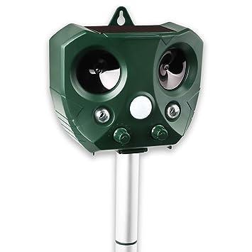Jinziyi - Repelente ultrasónico para animales, repelente solar con detector de movimiento por infrarrojos,