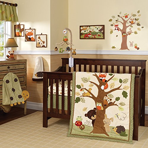 Frog 3 Piece Crib - Lambs & Ivy Forest/Woodland 7 Piece Crib Bedding Set - Echo - Brown/Beige